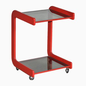 Red Lacquered Beech and Glass Trolley from Fratelli Longhi, 1970s