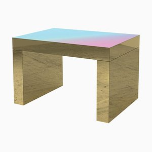 Light Blue-Rose Polished Aluminium Gaby Gradient Coffee Table by Chapel Petrassi