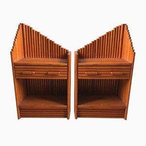 Nachttische aus Bambus, 1970er, 2er Set