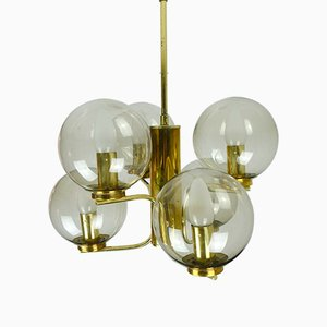 Mid-Century Brass and Smoked Glass Chandelier, 1960s