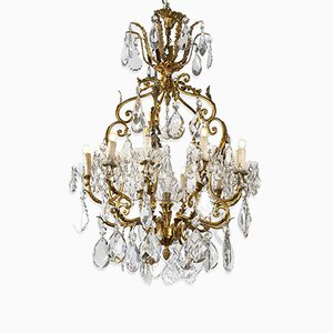 Brass and Crystal Chandelier, 1950s