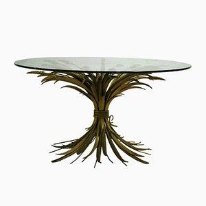 Vintage Gilt Metal and Glass Side Table, 1960s