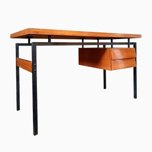 Teak and Lacquered Metal Desk, 1960s