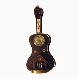 Orologio-barometro a forma di chitarra in legno, anni '70