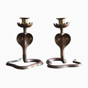 Antique Brass Cobra Candleholders, Set of 2