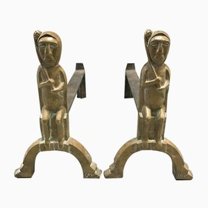 Bronze and Iron Andirons by Anton Prinner, 1950s, Set of 2
