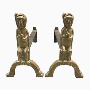 Chenets en Bronze et Fer par Anton Prinner, années 50, Set de 2