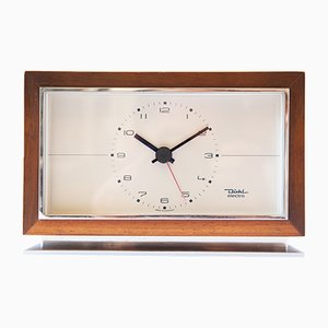Orologio da scrivania minimalista impiallacciato in noce di Diehl Junghans, anni '60