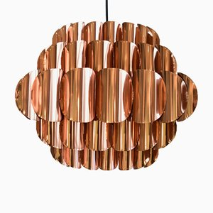 Large Danish Copper Pendant Lamp by Werner Schou for Coronell Elektro, 1970s
