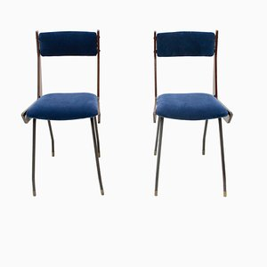 Italienische Mid-Century Stühle mit blauen Samtbezügen von RB Rossana, 1950er, 2er Set