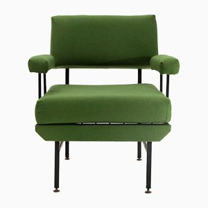 Mid-Century Italian Green Fabric and Metal Armchair, 1950s