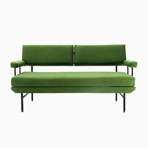 Sofá cama italiano Mid-Century de tela verde y metal, años 50