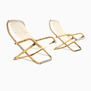 Mid-Century Italian White Cream and Bamboo Armchairs, 1950s, Set of 2
