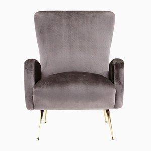 Mid-Century Italian Gray Velvet Armchair, 1950s