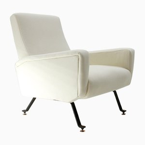 Mid-Century Italian White Fabric Armchair, 1950s