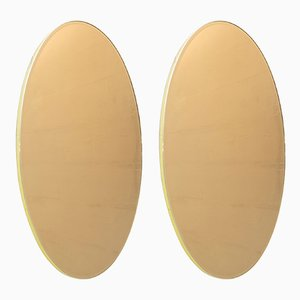 Italian Bronze Brass Oval Mirrors, 1970s, Set of 2