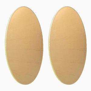 Ovale italienische Spiegel mit goldenem Glas & Messingrahmen, 1970er, 2er Set