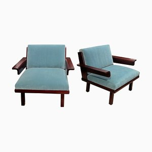 Mid-Century Swedish Blue Velvet Armchair