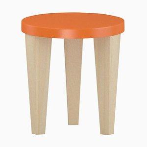 Bob Hocker aus Holz mit orangefarbener Sitzfläche von Chapel Petrassi