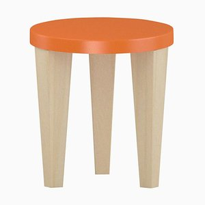 Orange Wood Bob Stool by Chapel Petrassi