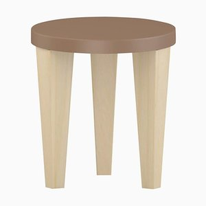 Light Brown Wood Bob Stool by Chapel Petrassi