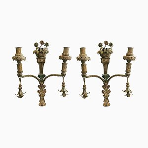 Antique Wrought Iron Candleholders, Set of 2