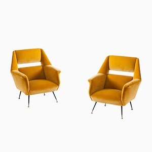 Italian Velvet Armchairs by Gigi Radice for Minotti, 1950s, Set of 2