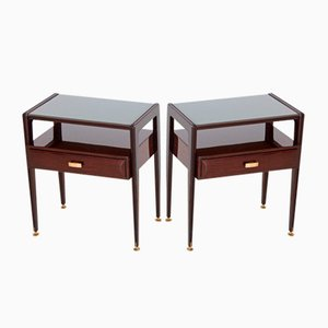 Italian Wooden and Glass Nightstands, 1950s, Set of 2