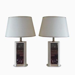 Lámparas de mesa francesas de Dauphin, años 70. Juego de 2
