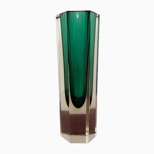 Jarrón italiano de cristal de Murano verde, años 60