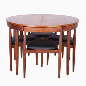 Mid-Century Teak Dining Table & Chairs Set by Hans Olsen for Frem Røjle, 1950s