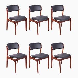Model 49 Rosewood Dining Chairs by Erik Buch for Oddense Maskinsnedkeri / O.D. Møbler, 1960s, Set of 6