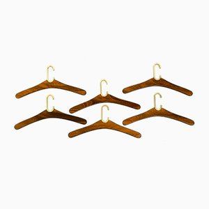 Hollywood Regency Brass and Walnut Racks from Vereinigte Werkstätten Collection, 1970s, Set of 6