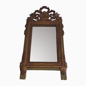 Antiker französischer Spiegel mit vergoldetem & bemaltem Holzrahmen