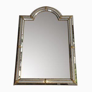 French Brass-Framed Mirror, 1970s