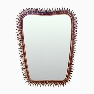 Großer italienischer Spiegel mit Rahmen aus Rattan & Bambus von Gio Ponti, 1950er