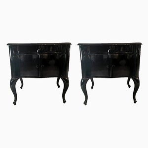 Antique Black Lacquered Wood Dressers, Set of 2
