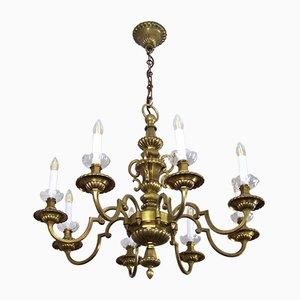 Antiker Kronleuchter aus Messing & Wandlampe, 2er Set