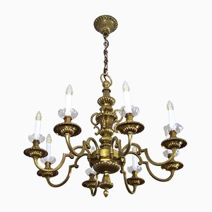 Antique Brass Chandelier and Wall Light, Set of 2