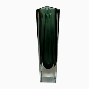 Vase aus schwarzem & klarem Muranoglas von Alessandro Mandruzzato, 1960er