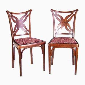 Antike Beistellstühle von Josef Hoffmann für J & J Kohn, 2er Set