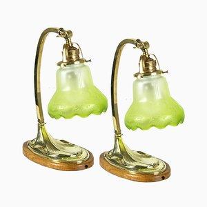 Lampes de Bureau Antiques en Laiton, Set de 2