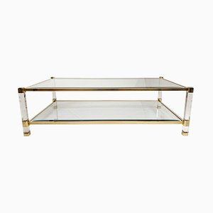 Mid-Century Glass, Lucite, and Brass Coffee Table by Pierre Vandel