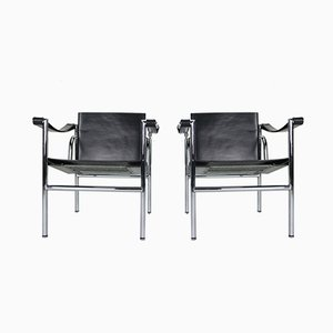 Model LC1 Black Leather Armchairs by Le Corbusier for Cassina, 1970s, Set of 2
