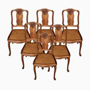 Französische Esszimmerstühle aus Eiche, 1920er, 6er Set