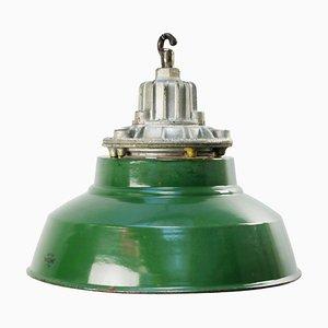 Lampe à Suspension Mid-Century en Émail Vert et Fonte, Grande-Bretagne