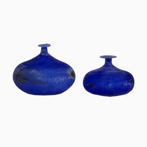 Vases en Verre de Murano Bleu par Gino Cenedese, 1960s, Set de 2
