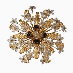 Lampada da soffitto Mid-Century in vetro dorato