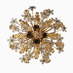 Mid-Century Gilded Glass Ceiling Lamp