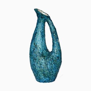 Vase Mid-Century en Céramique Bleue par Marcello Fantoni, Italie, 1950s
